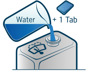 Mix approximately 4 litres of tap water to one DocVision Screen Wash Tablet